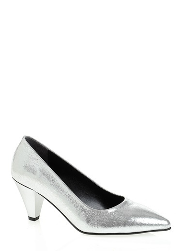 D by Divarese Kısa Topuklu Ayakkabı Gümüş